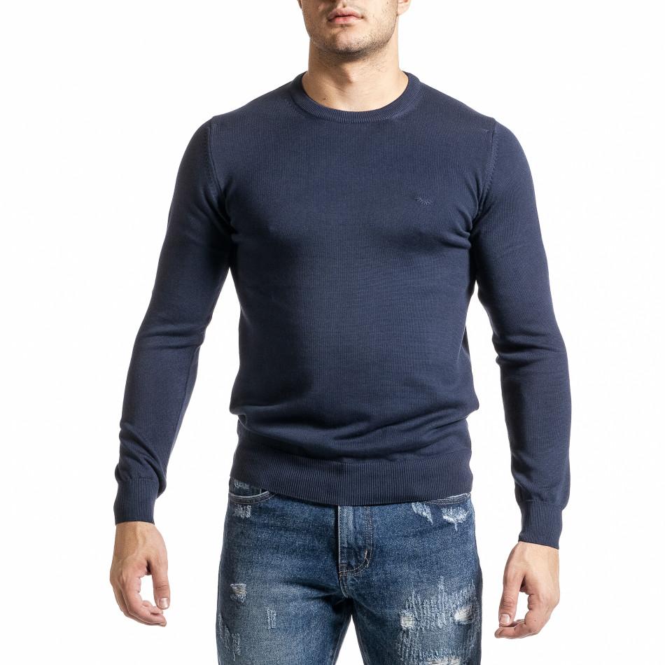 Фин памучен мъжки пуловер цвят деним tr231220-2