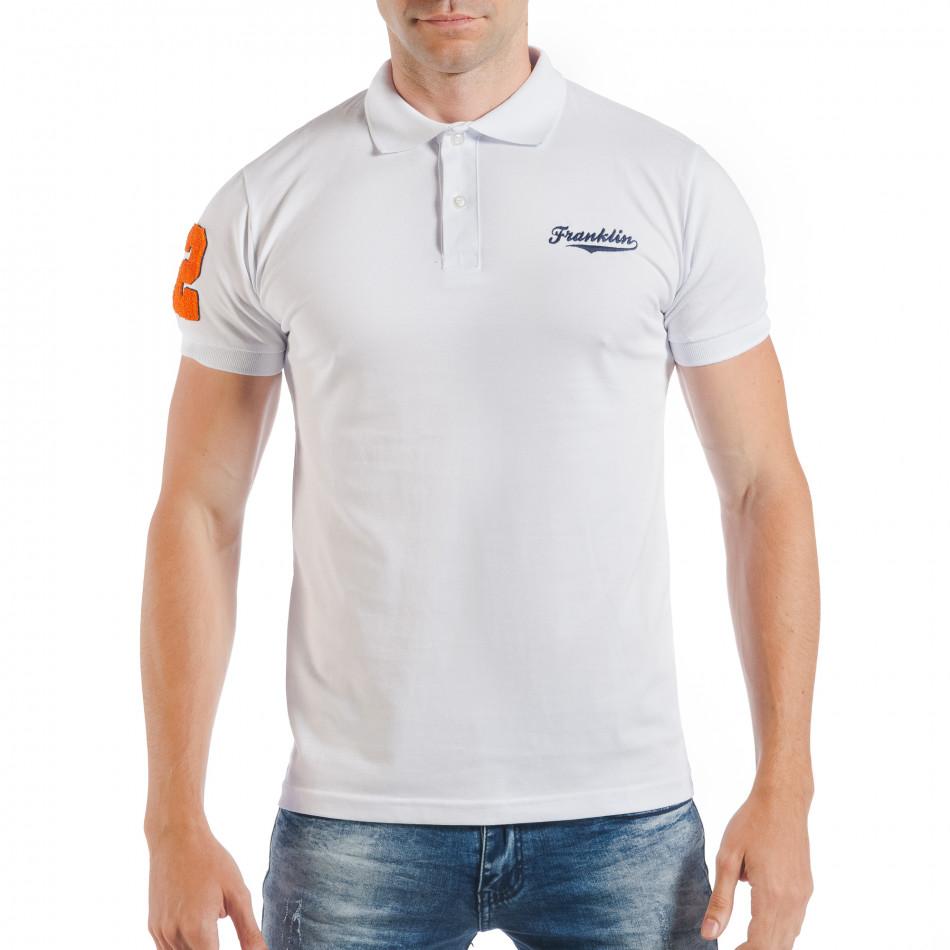 Бяла мъжка тениска тип поло шърт с номер 32 tsf250518-42