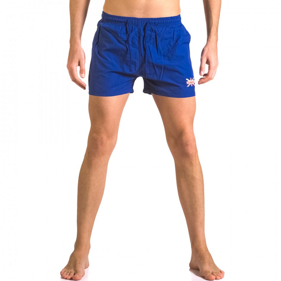 Мъжки сини бански шорти с джобове отпред ca050416-7