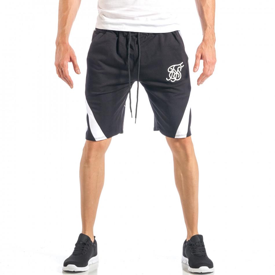 Мъжки черни шорти с бял кант it040518-52
