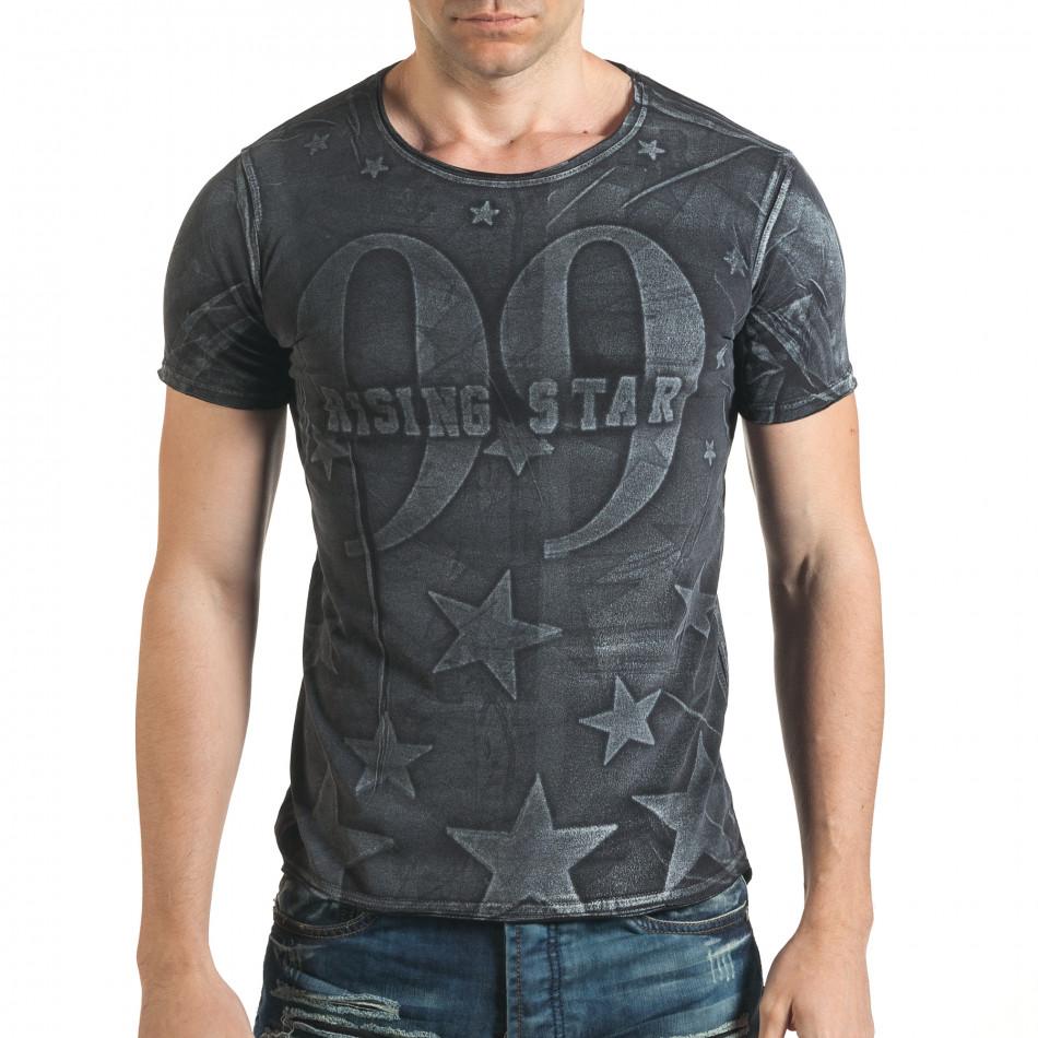 Удължена черна тениска с принт звезди и номер il140416-16