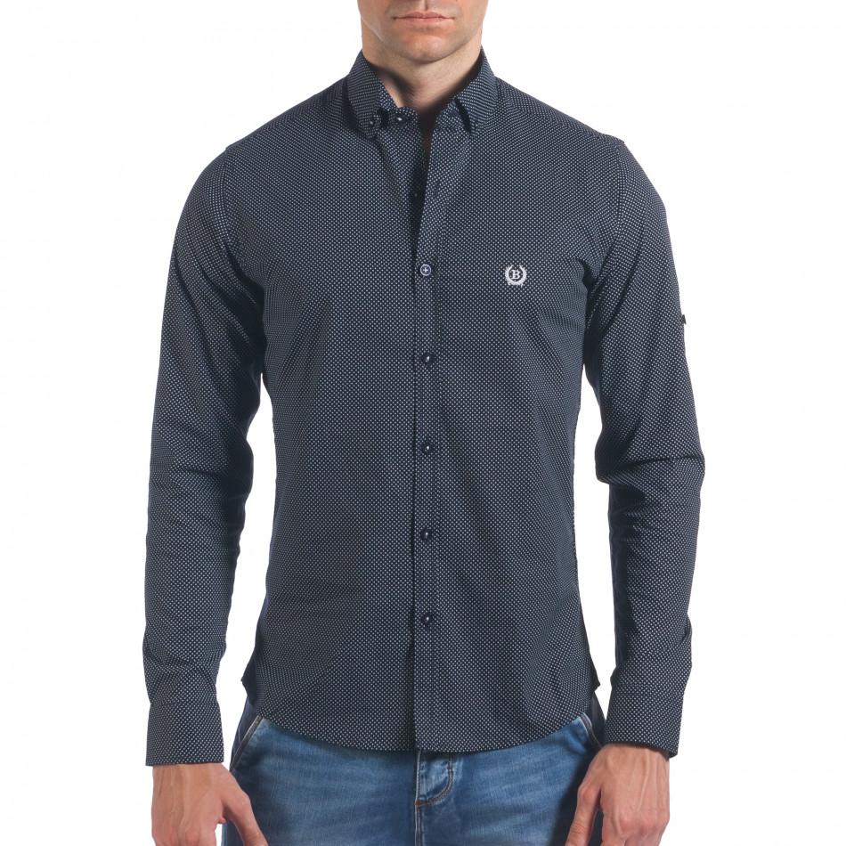 Мъжка черна риза с малки кръстчета il060616-119