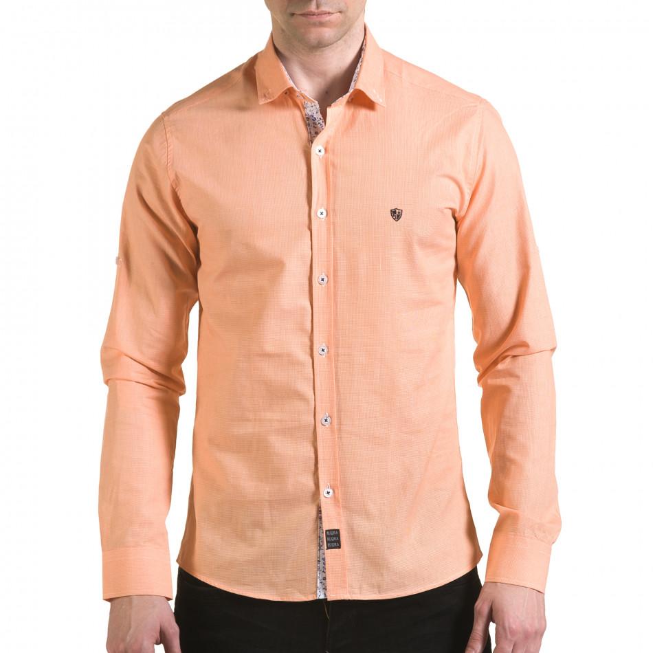 Мъжка оранжева риза на много фини квадратчета il170216-108
