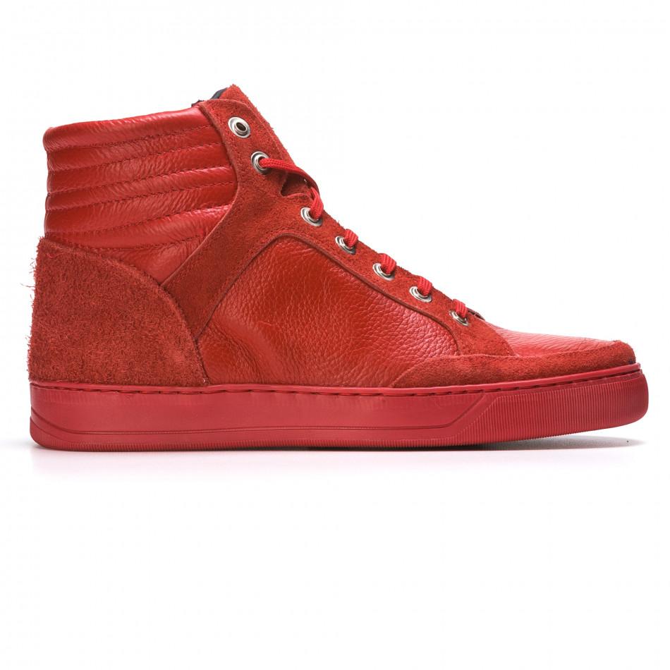 Мъжки червени високи кецове от естествена кожа It050216-4