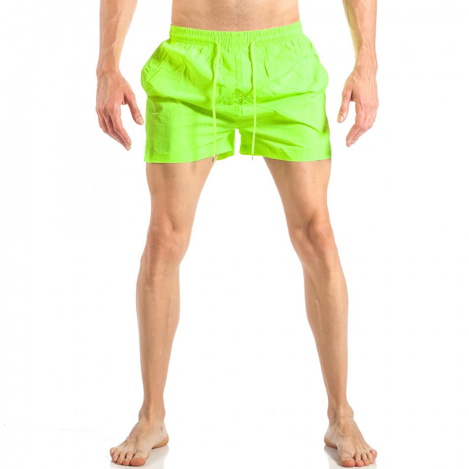 Мъжки неонов зелен бански с трицветна лента it040518-94