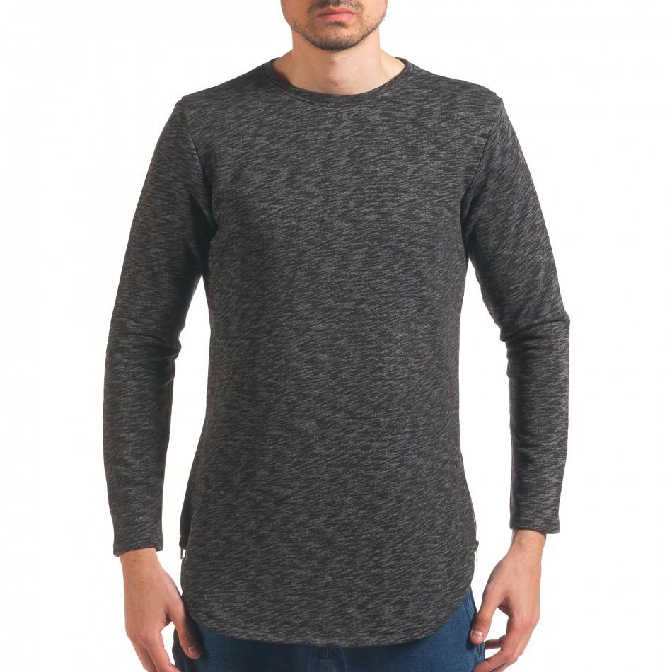 Мъжка тъмно сива блуза удължена с ципове it250416-83