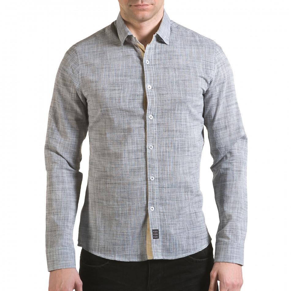 Мъжка сива риза изчистен модел il170216-123