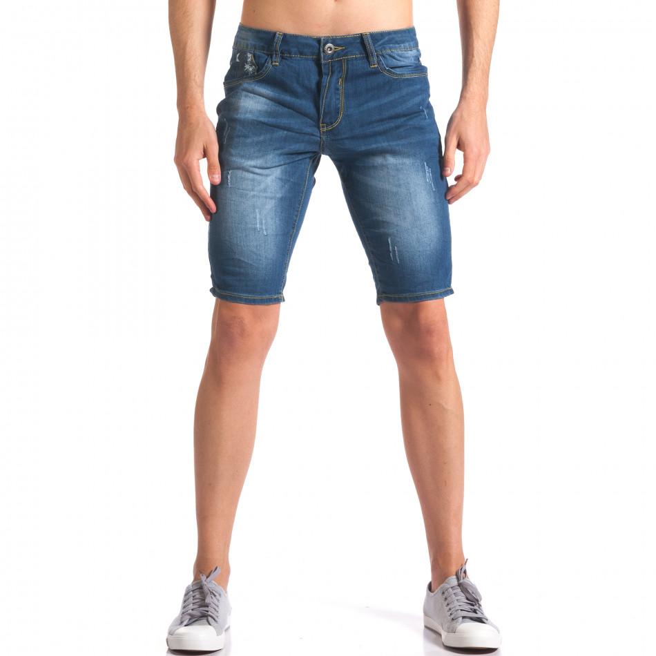 Мъжки дънкови панталони къси със скъсвания it250416-32