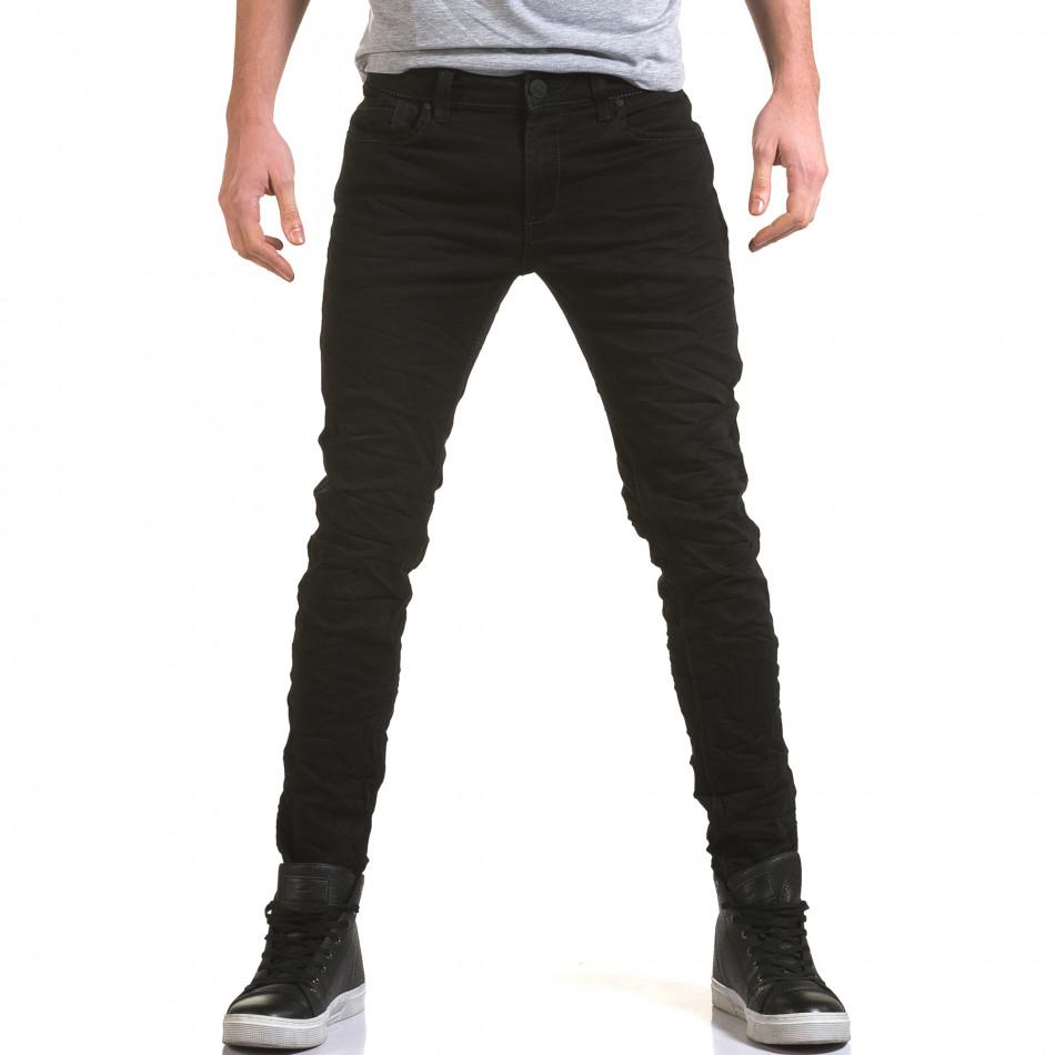 Мъжки черни дънки изчистен модел it090216-10