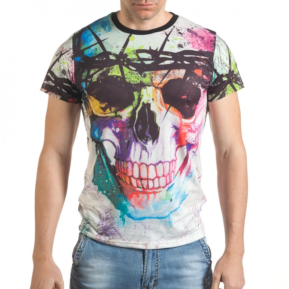 Мъжка бяла тениска с шарен череп отпред tsf140416-70