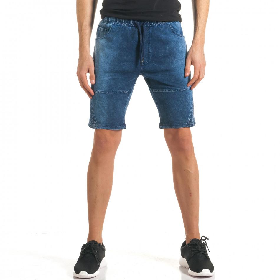 Мъжки сини шорти с ефект на дънки с допълнителни шевове it140317-109