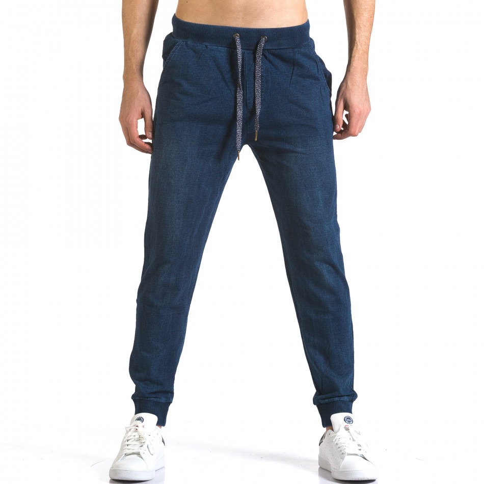 Мъжки сини потури с ефект на дънки със сини връзки it090216-58