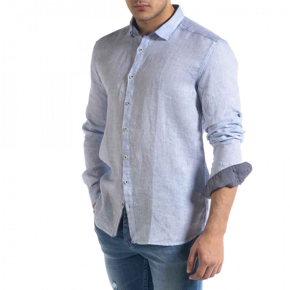 Ленена мъжка риза в светло синьо tr110320-92