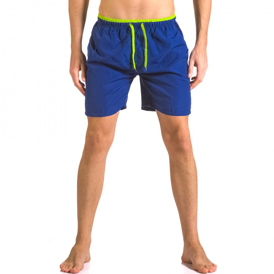 Сини бански тип шорти с неонво зелени връзки ca050416-26