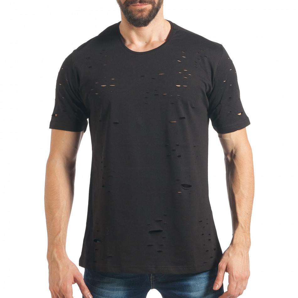 Мъжка черна тениска с декоративни скъсвания tsf020218-28