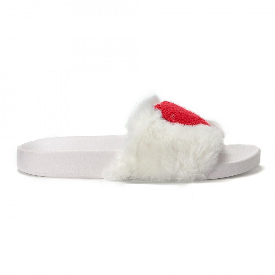 Дамски бели пухкави чехли със сърце it230418-52