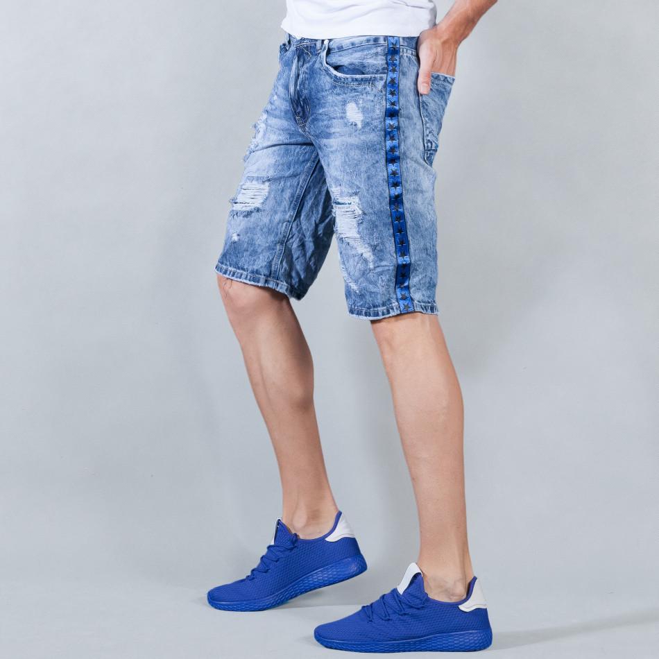 Мъжки сини къси дънки с кантове на звезди и скъсвания it050618-22