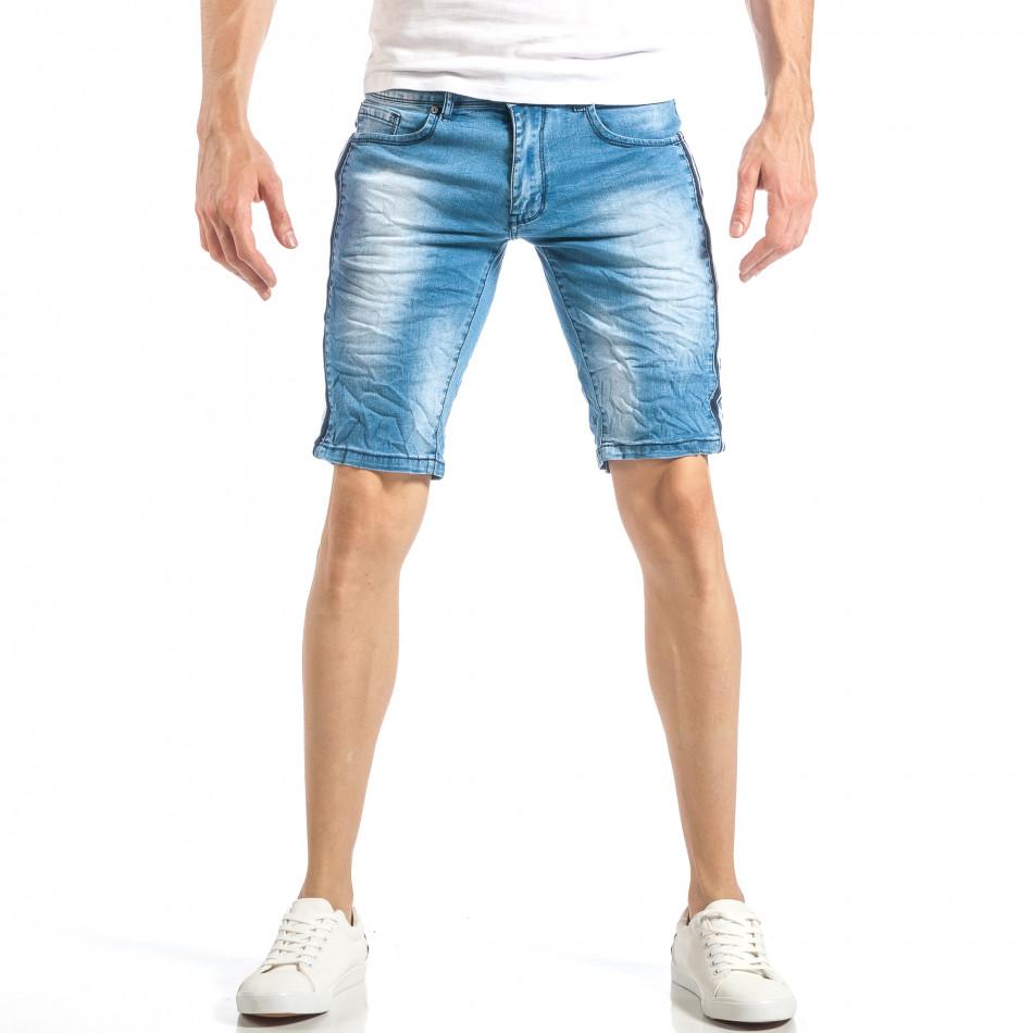 Мъжки леки къси дънки в синьо с кантове  it040518-78