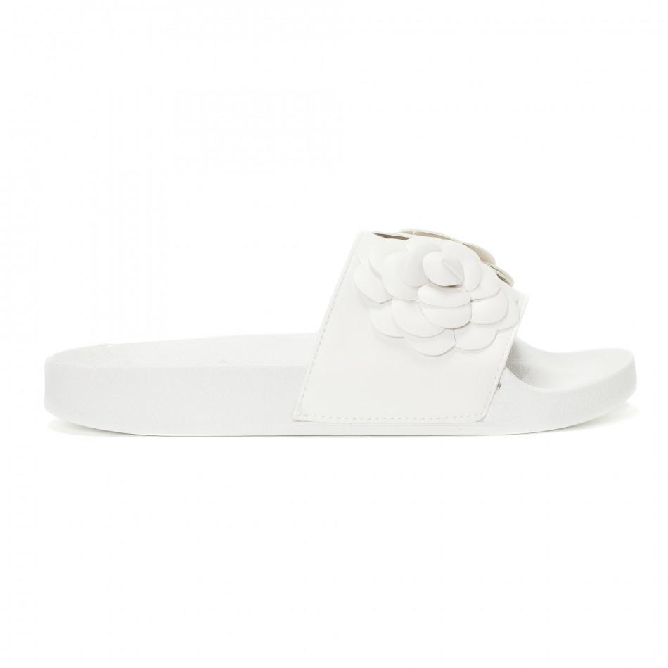 Дамски бели чехли с релефни цветя it230418-22