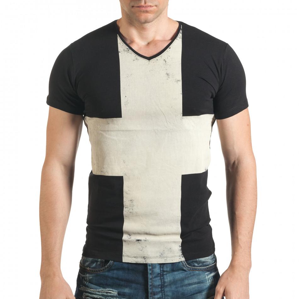 Мъжка тениска черна с голям бял кръст отпред il140416-8