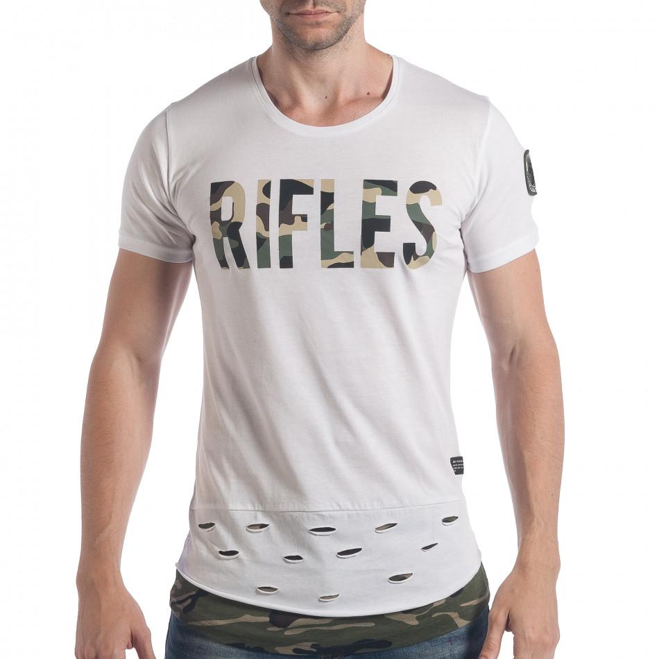 Мъжка бяла тениска с камуфлажен надпис tsf140617-2