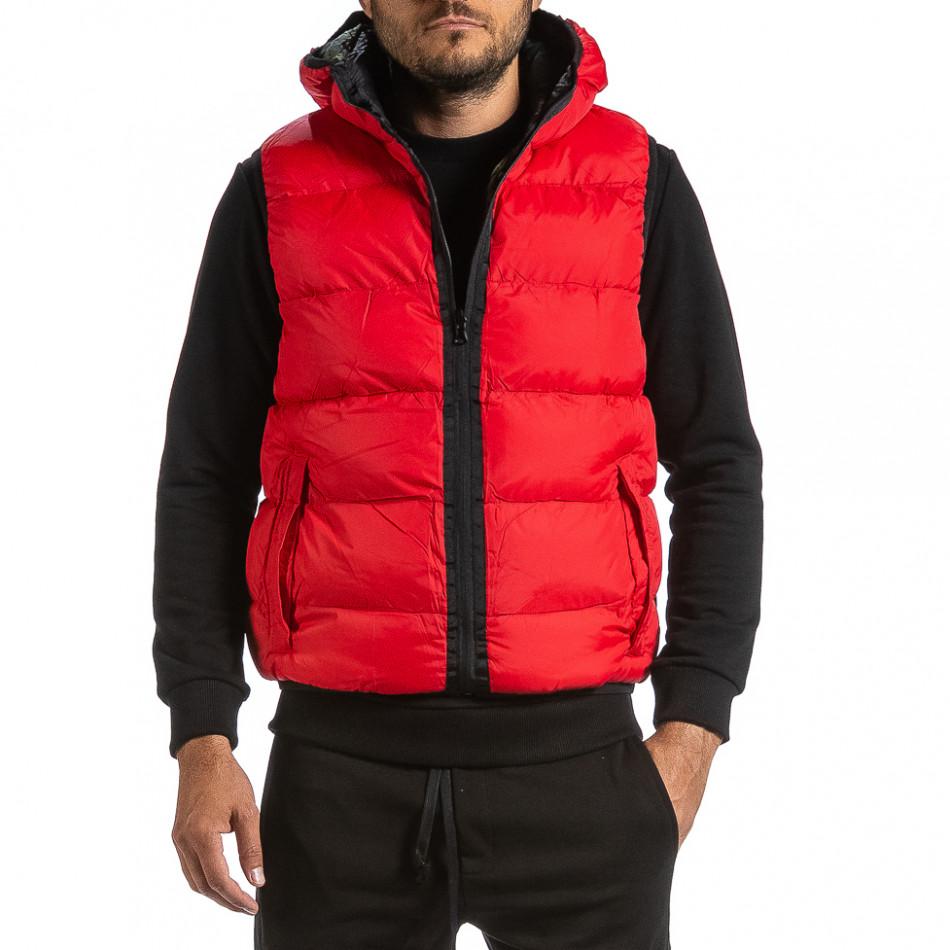 Мъжка двулицева грейка цвят червен & камуфлаж gr070921-30