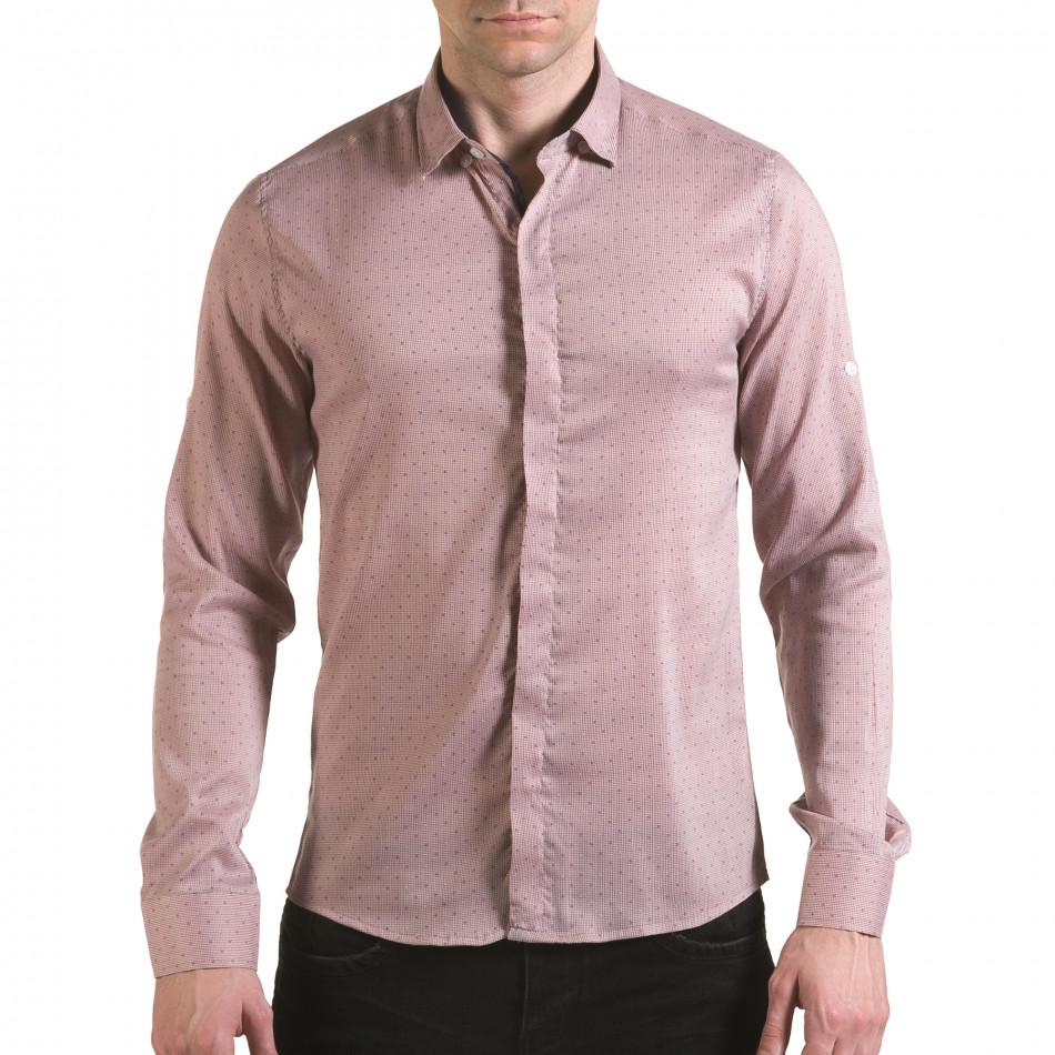 Мъжка бежова риза с малки детайли и скрити копчета il170216-116