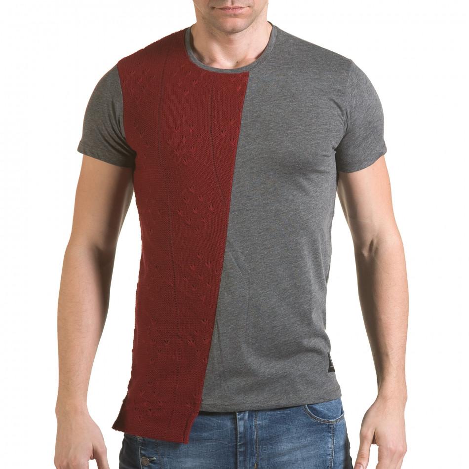 Мъжка сива тениска с червена плетена част il170216-62