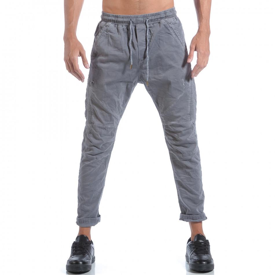 Мъжки сиви дънки с ластик на кръста it160817-58