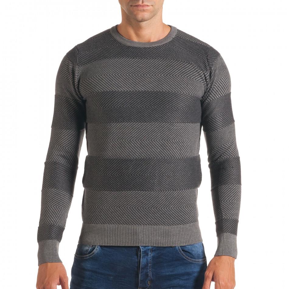 Мъжки тъмно сив пуловер с фини райета it170816-4
