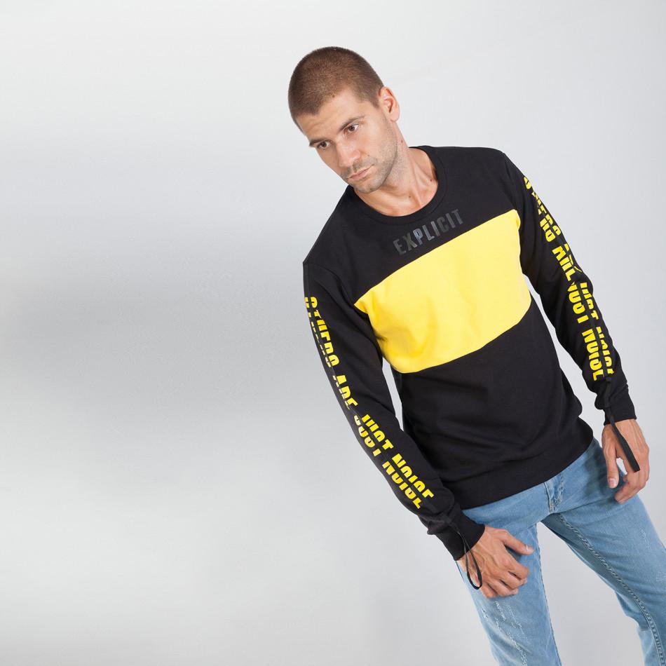 Черна мъжка памучна блуза EXPLICIT it240818-143