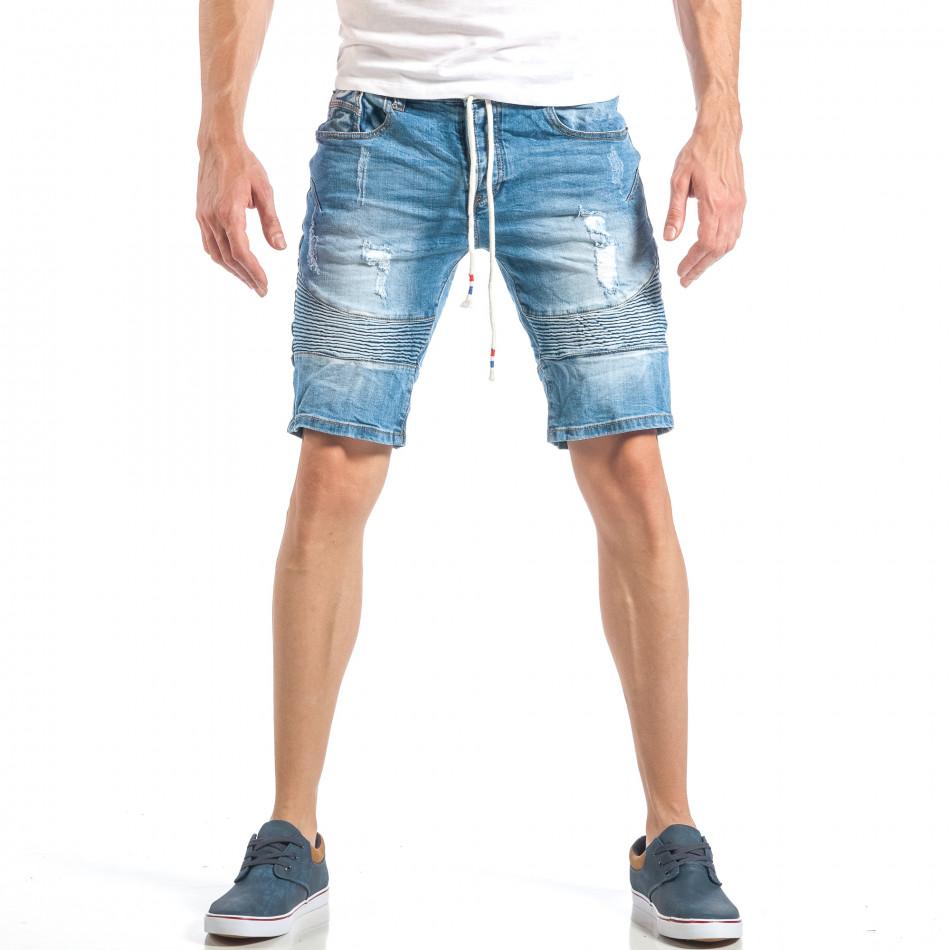 Мъжки сини къси дънки в рокерски стил it040518-72