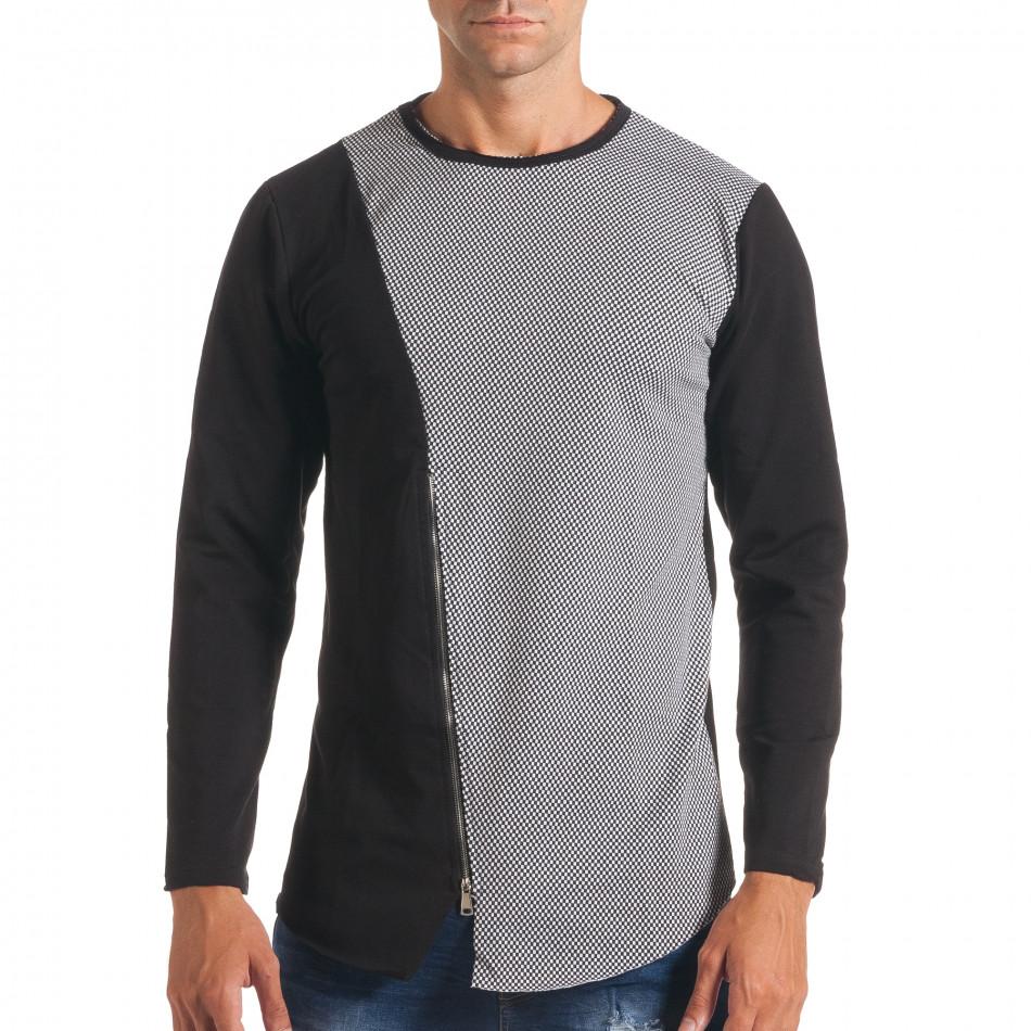 Мъжка черно-сива блуза с декоративен цип it180816-7