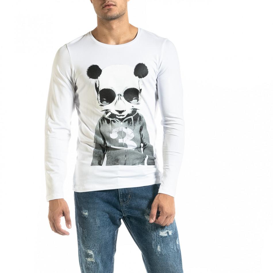 Мъжка бяла блуза Panda Skull tr020920-50