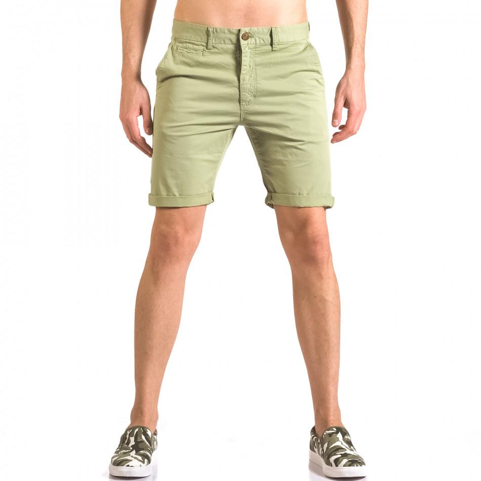 Мъжки зелени къси панталони с италиански джобове ca050416-63
