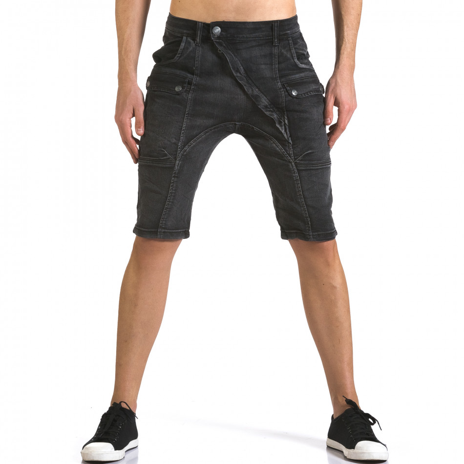 Мъжки сиви къси дънки с допълнителни джобове it110316-65