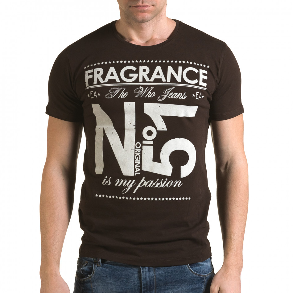 Мъжка кафява тениска Fragrance No.51 il120216-29