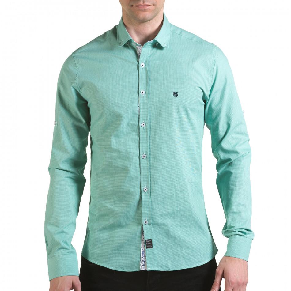 Мъжка зелена риза на много фини квадратчета il170216-109