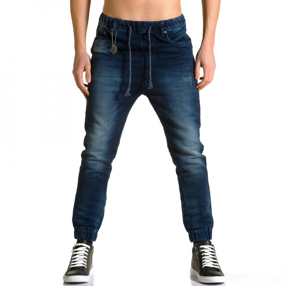 Мъжки тъмно сини дънки-долнище ca190116-4