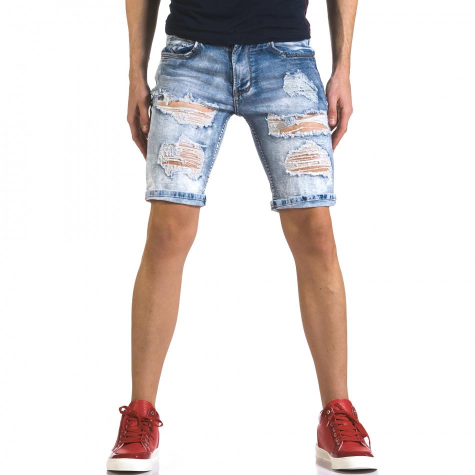 Мъжки светло сини къси дънки с големи скъсвания it110316-72