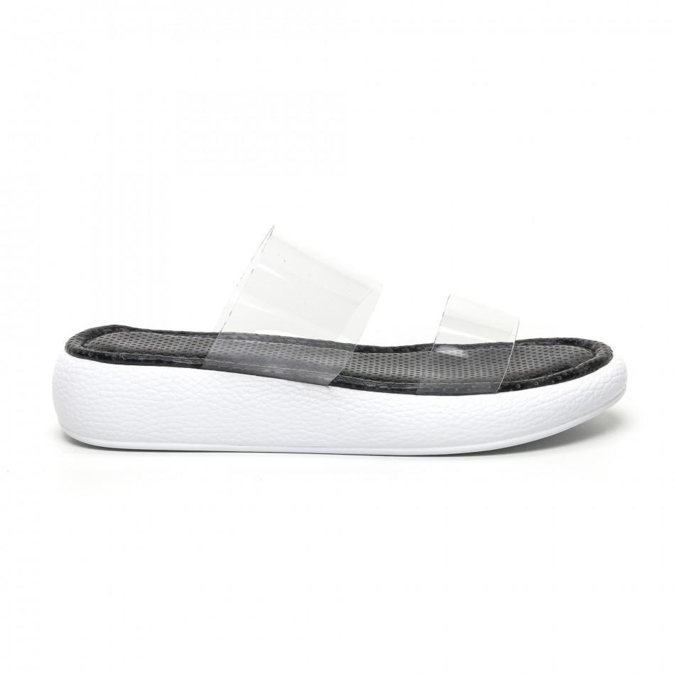 Дамски чехли с прозрачни каишки сив леопард tr180320-5