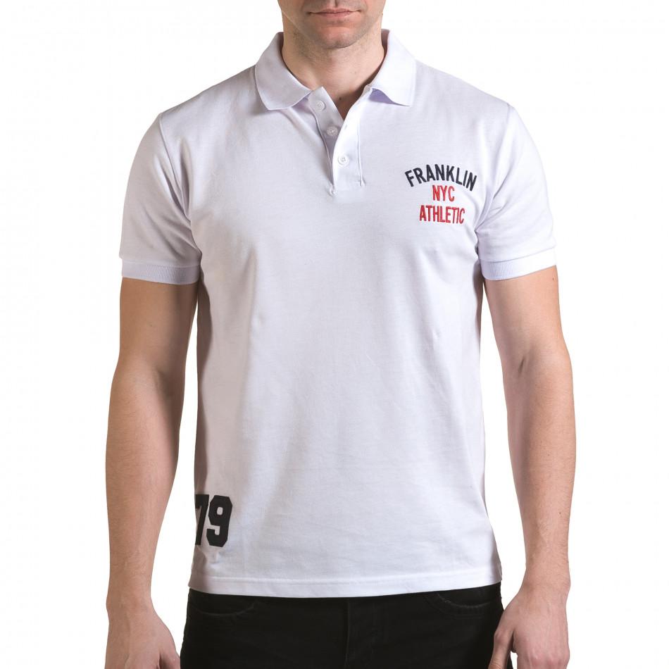 Мъжка бяла тениска с яка с надпис Franklin NYC Athletic il170216-31