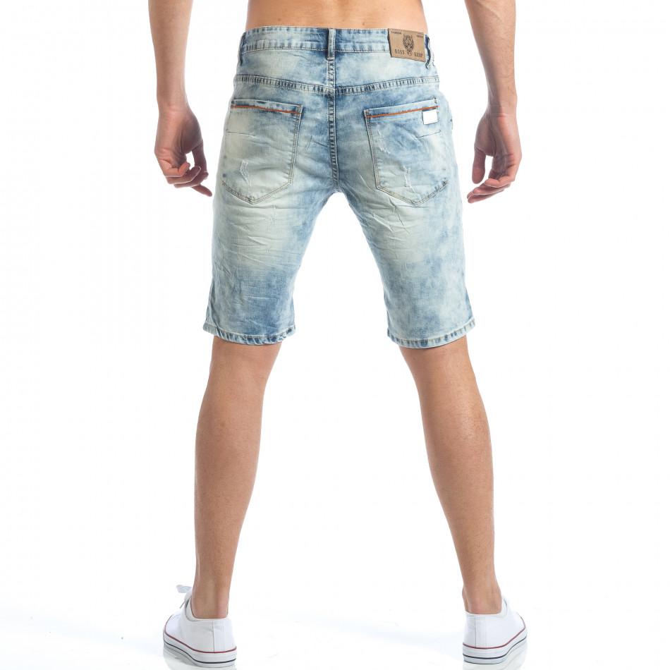 00736a5b50a Мъжки светло сини къси дънки със скъсвания it190417-69 | Fashionmix.bg