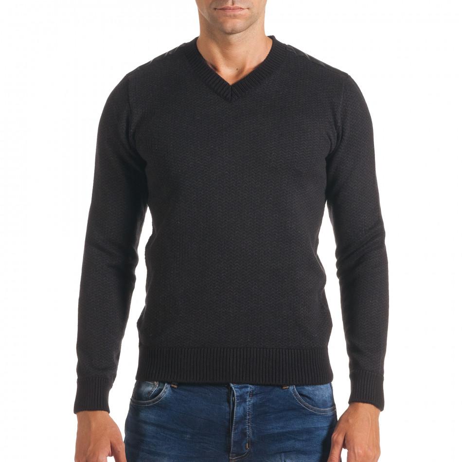 Мъжки черен пуловер с фигурална плетка it170816-5
