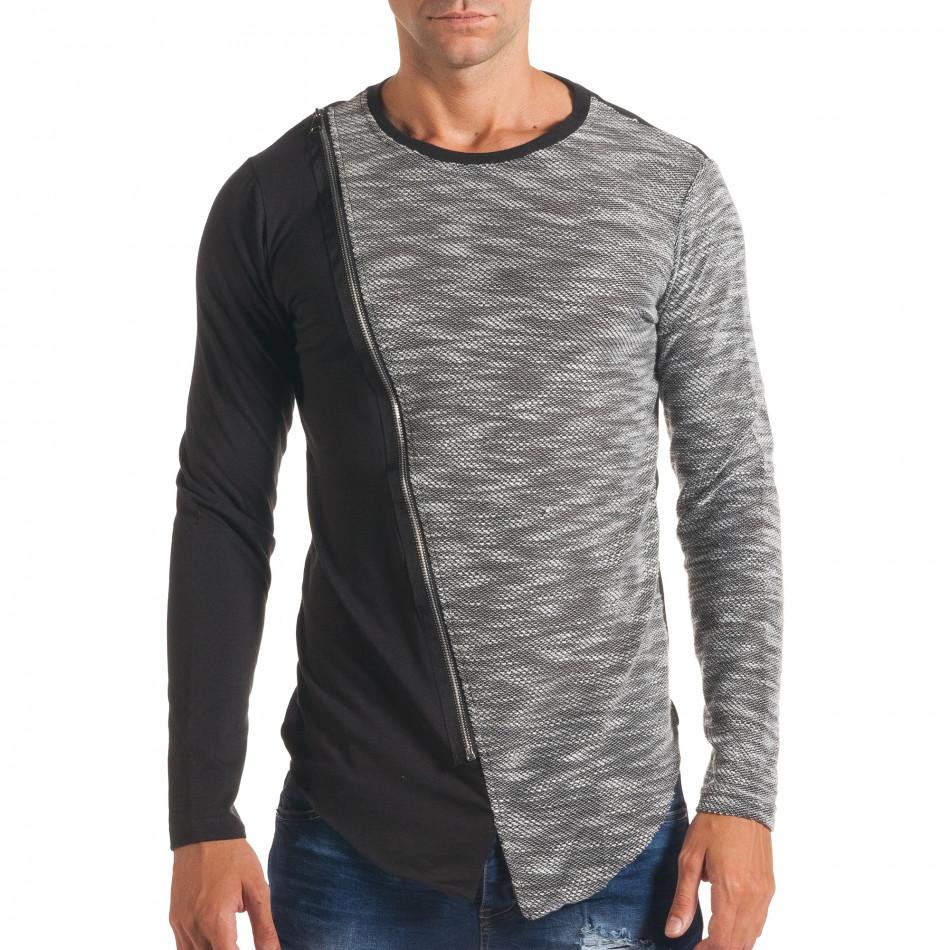Мъжка черна блуза със светло сива част и цип it180816-9