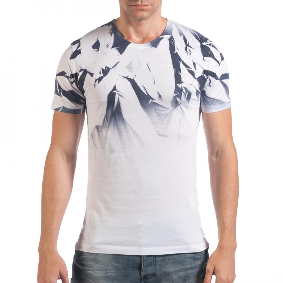 Мъжка бяла тениска с ефектен принт il060616-36