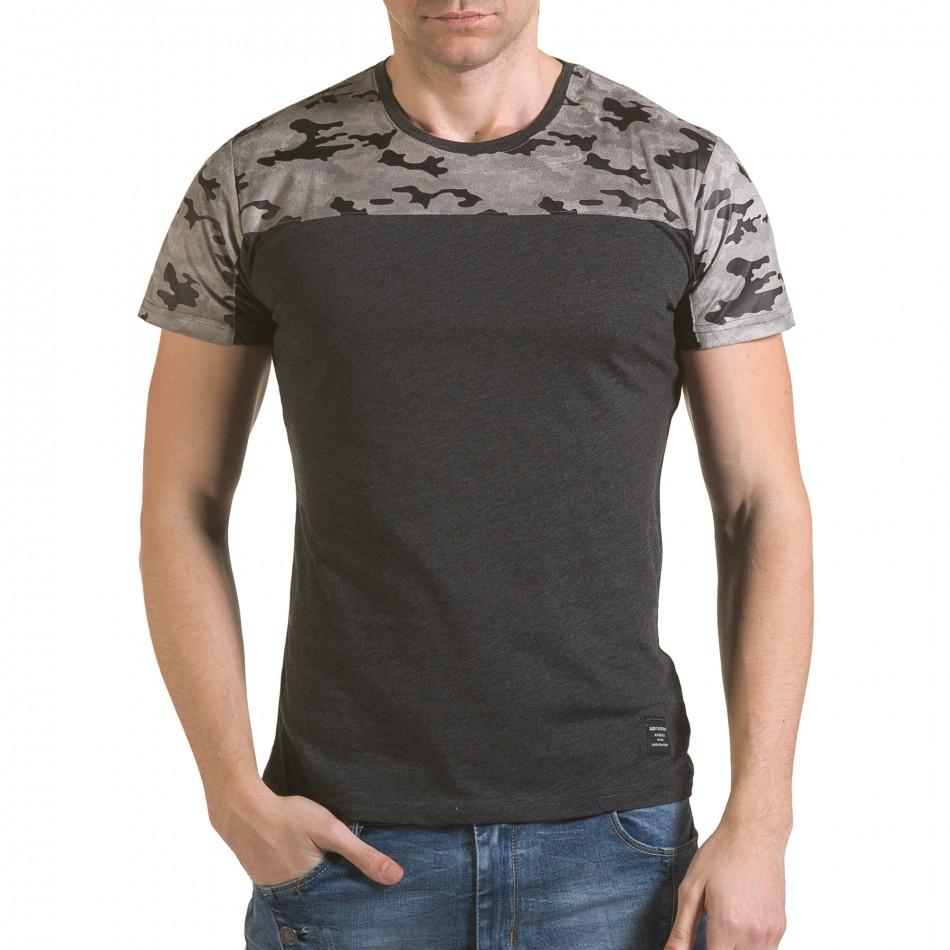 Мъжка сива тениска с камуфлажна част на раменете il170216-46