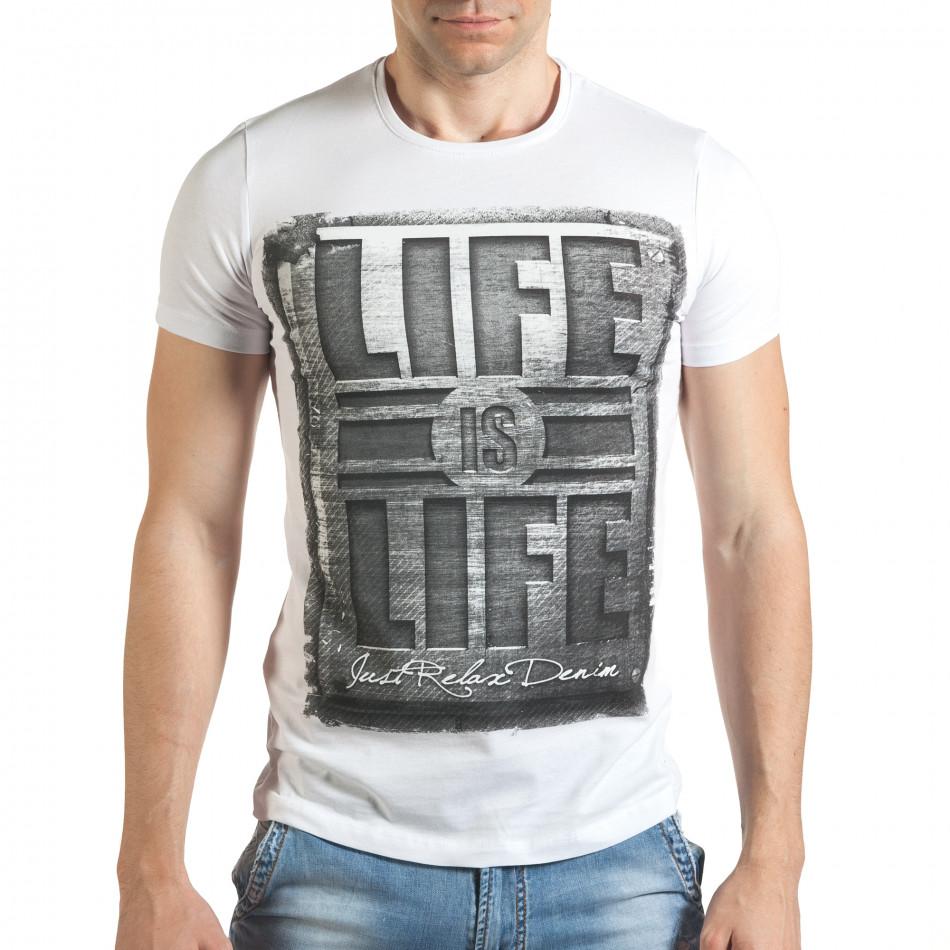 Мъжка бяла тениска с голям надпис il140416-44