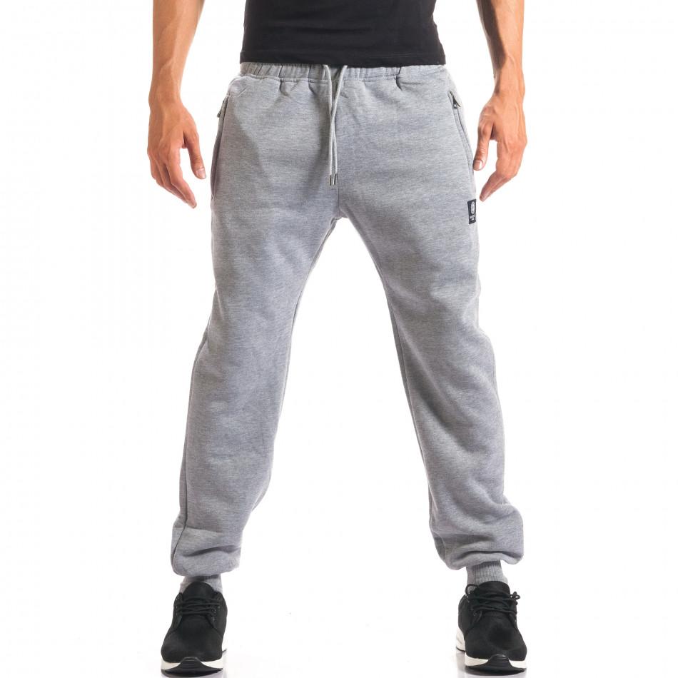 Мъжко сиво долнище с ципове на джобовете it160816-9