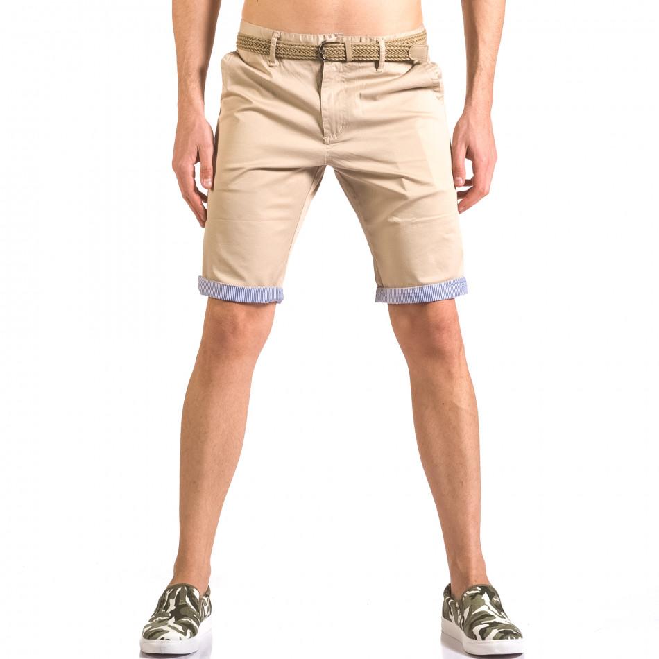 Мъжки бежов къс панталони с плетен колан ca050416-57
